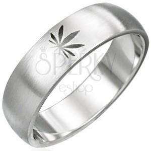 Oceľový prsteň motív marihuana