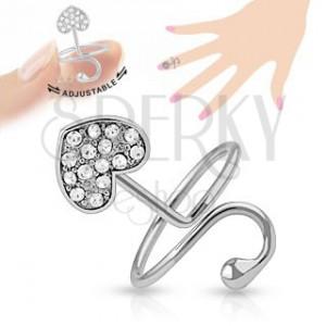 Nastaviteľný prsteň na necht, strieborná farba, srdiečko, oblúk, zirkóny