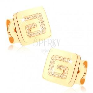 Náušnice zo žltého 9K zlata - lesklý štvorček, pieskovaný grécky kľúč