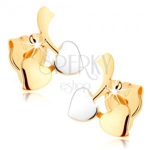 Zlaté náušnice 375 - konárik s listami a guličkou, zrkadlový lesk