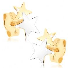 Šperky eshop - Puzetové náušnice zo žltého 9K zlata - dvojfarebné hviezdičky GG73.13