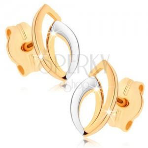 Náušnice zo žltého 9K zlata - zdvojená kontúra zrnka, dvojfarebné prevedenie