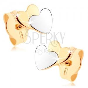 Dvojfarebné náušnice v 9K zlate - malé ploché srdiečka, zrkadlový lesk