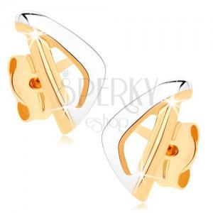 Zlaté náušnice 375 - asymetrický obrys trojuholníka v dvoch farbách