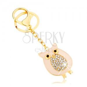 Prívesok na kľúče zlatej farby, sovička s trblietavým bruškom na retiazke