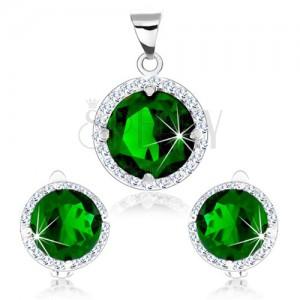Set zo striebra 925, prívesok a náušnice, zelený okrúhly zirkón, číry lem