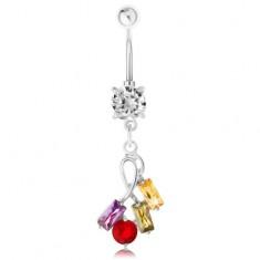 Šperky eshop - Piercing do bruška z ocele, strieborná farba, farebné zirkónové obdĺžniky a kruhy PC17.15