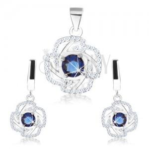 Set - náušnice a prívesok, striebro 925, obrys kvetu, modrý okrúhly zirkón