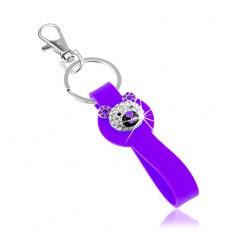Šperky eshop - Kľúčenka striebornej farby, fialový silikónový prívesok, ligotavá hlava medvedíka SP65.21