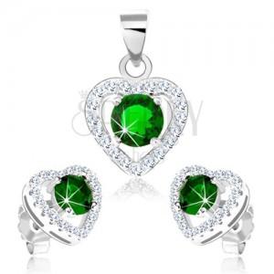 Set zo striebra 925, náušnice a prívesok, obrys srdca so zeleným zirkónom