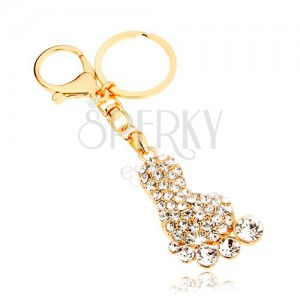 Prívesok na kľúče v zlatej farbe, trblietavé chodidlo, číre zirkóny