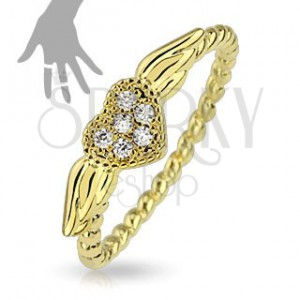 Prsteň zlatej farby, špirálovitý vzhľad ramien, srdiečko s krídlami
