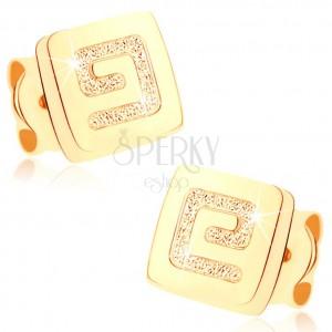 Zlaté náušnice 375 - malý lesklý štvorec, pieskovaný grécky kľúč