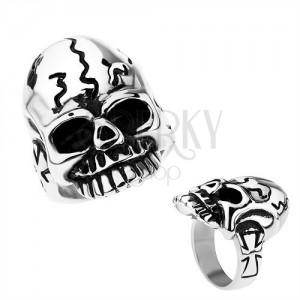 Patinovaný prsteň z chirurgickej ocele, lebka s nepravidelnými ryhami