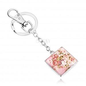 Kabošon kľúčenka, štvorec s vypuklým sklom, motív ruží so zelenými listami