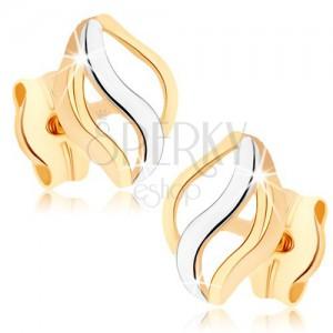 Zlaté náušnice 375 - tri lesklé vlnky, dvojfarebné prevedenie, puzetky