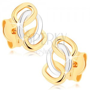 Dvojfarebné náušnice z 9K zlata - lesklé prepojené obruče, puzetky