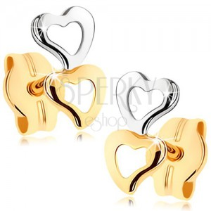 Náušnice zo zlata 375 - dva obrysy srdiečok, dvojfarebné prevedenie