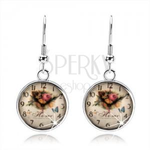 Náušnice, štýl cabochon, glazúra, obrázok hodiniek, ruže, anglický nápis