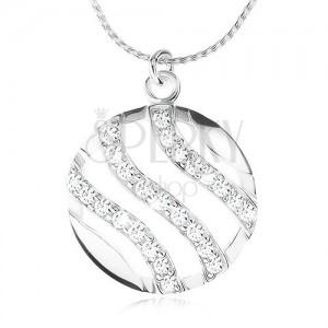 Strieborný náhrdelník 925, retiazka a okrúhly prívesok, vlnky vykladané zirkónmi