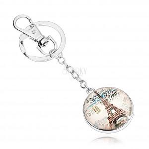 Kľúčenka s okrúhlym príveskom v štýle kabošon, Eiffelova veža, mesto