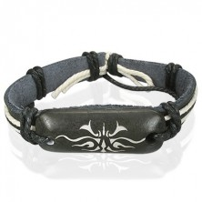 Čierny kožený náramok Tribal symbol