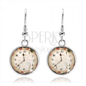Náušnice, štýl kabošon, priesvitná glazúra, obrázok hodiniek, farebné kvety