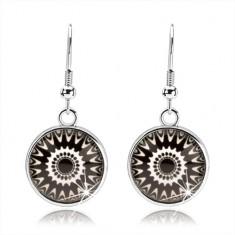 Šperky eshop - Náušnice typu kabošon, číre sklo, čierno-biele ornamenty, afroháčiky SP68.25