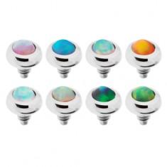 Šperky eshop - Náhradný diel do implantátu z ocele, gulička s farebným syntetickým opálom SP68.30 - Farba piercing: Číra
