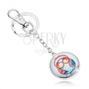 Prívesok na kľúče cabochon, kruh s čírou glazúrou, modrá sova s čiapkou
