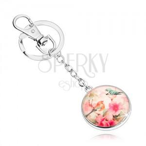 Kľúčenka cabochon, kruh s glazúrou, dva vtáčiky na strome s kvetmi