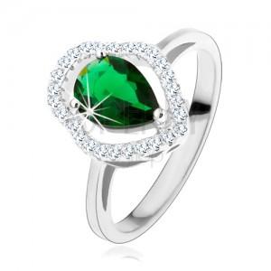 Strieborný prsteň 925, zelená zirkónová kvapka, číry ligotavý obrys