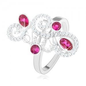 Prsteň zo striebra 925, trblietavé ornamenty, ružové zirkóny, vysoký lesk