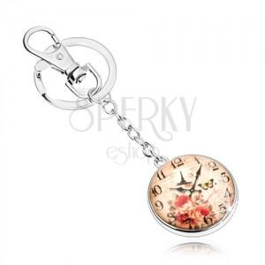 Prívesok na kľúče - cabochon, hodinky, Eiffelova veža, motýľ, červené ruže