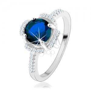 Zásnubný prsteň, striebro 925, modrý kvietok, lupene z čírych zirkónikov