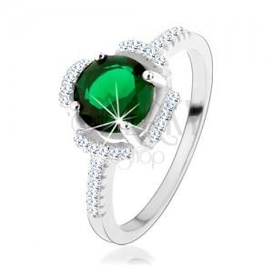 Prsteň zo striebra 925, zelený kvietok, lupene z čírych zirkónov