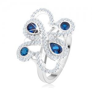 Strieborný 925 prsteň, trblietavé ornamenty, tmavomodré zirkóny