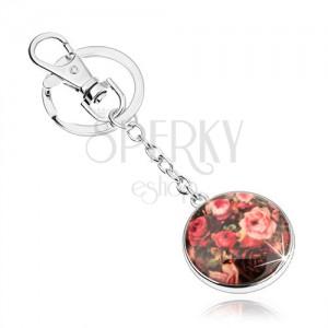 Prívesok na kľúče v štýle kabošon, vypuklá glazúra, rôznofarebné ruže