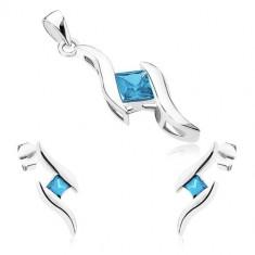 cd3ffb581 Šperky eshop - Strieborný set 925 - prívesok a náušnice, dve lesklé vlnky,  modrý zirkónový štvorček SP73.15