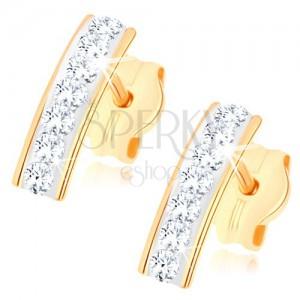 Puzetové náušnice v žltom 9K zlate, trblietavý pásik zo Swarovského krištáľov