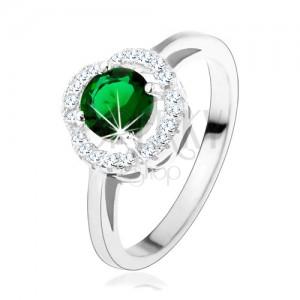 Zásnubný prsteň, okrúhly zelený zirkón, zvlnený lem čírej farby, striebro 925