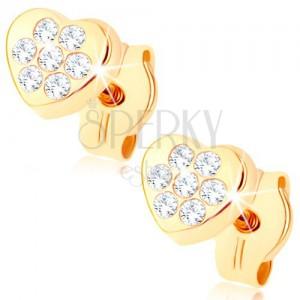 Zlaté náušnice 375 - malé ligotavé srdiečko, drobné číre zirkóniky