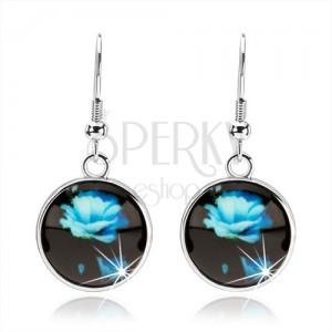 Náušnice v štýle kabošon, kruh s glazúrou, modrá rozkvitnutá ruža