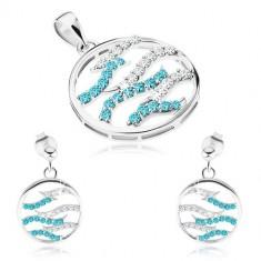 30850789f Šperky eshop - Strieborný set 925, náušnice a prívesok, kruh, číre a modré  zirkónové vlnky SP69.21