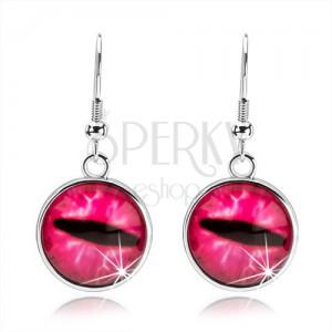 Okrúhle cabochon náušnice, číre vypuklé sklo, ružové mačacie oko