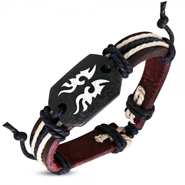 Hnedý kožený náramok Tribal symbol