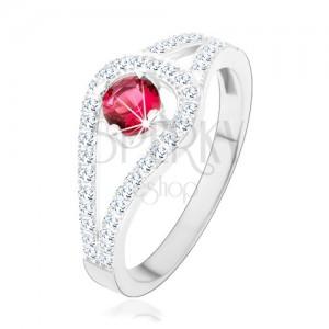 Strieborný prsteň 925, rozdvojené trblietavé ramená, ružový zirkón