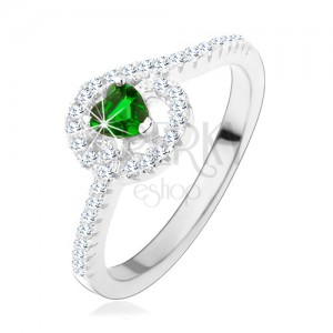 Zásnubný strieborný prsteň 925, zelené zirkónové srdiečko, trblietavé línie