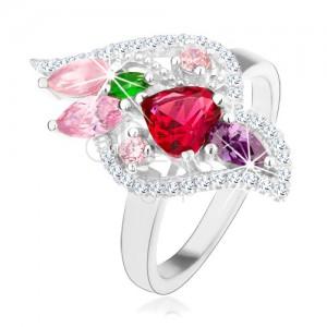 Strieborný 925 prsteň, trblietavé zirkóny rôznych farieb, číry lem