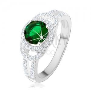Prsteň zo striebra 925, dvojitá trblietavá kontúra, zelený okrúhly zirkón